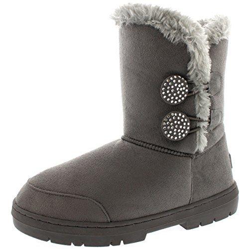 Womens Twin Button Diamond Sprinkle Fur Waterproof Winter Rain Snow Boots