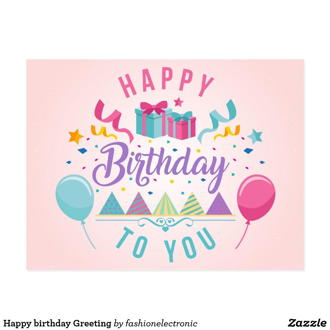 Happy Birthday Greeting Postcard Zazzle Com In 2021 Advance Happy Birthday Happy Birthday Wishes Images Happy Birthday Wishes Cards
