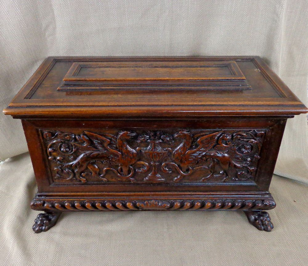 Antique Italian Carved Walnut Cassone Coffer Blanket Box Chest 18th