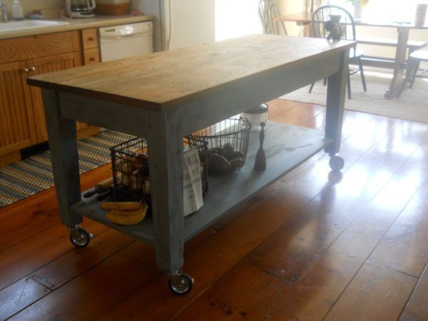 Kitchen Island on craigslist made from an old library table - Kitchen Island On Craigslist Made From An Old Library Table For