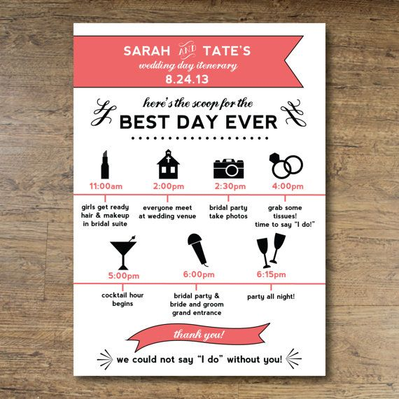 Printable Wedding Day Itinerary Card For By Ohdarlingpaper 25 00