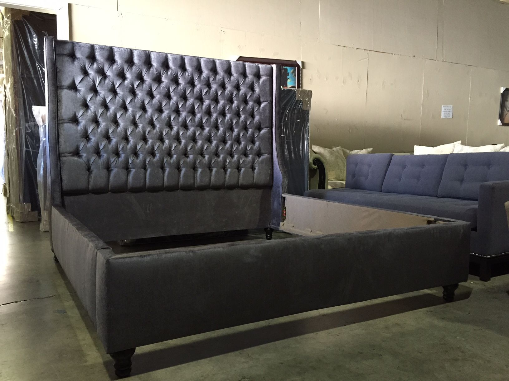 Upholstered Wingback Bed In Charcoal Velvet With Diamond Tufting - Diamond tufted steel grey velvet wingback headboard king extra tall