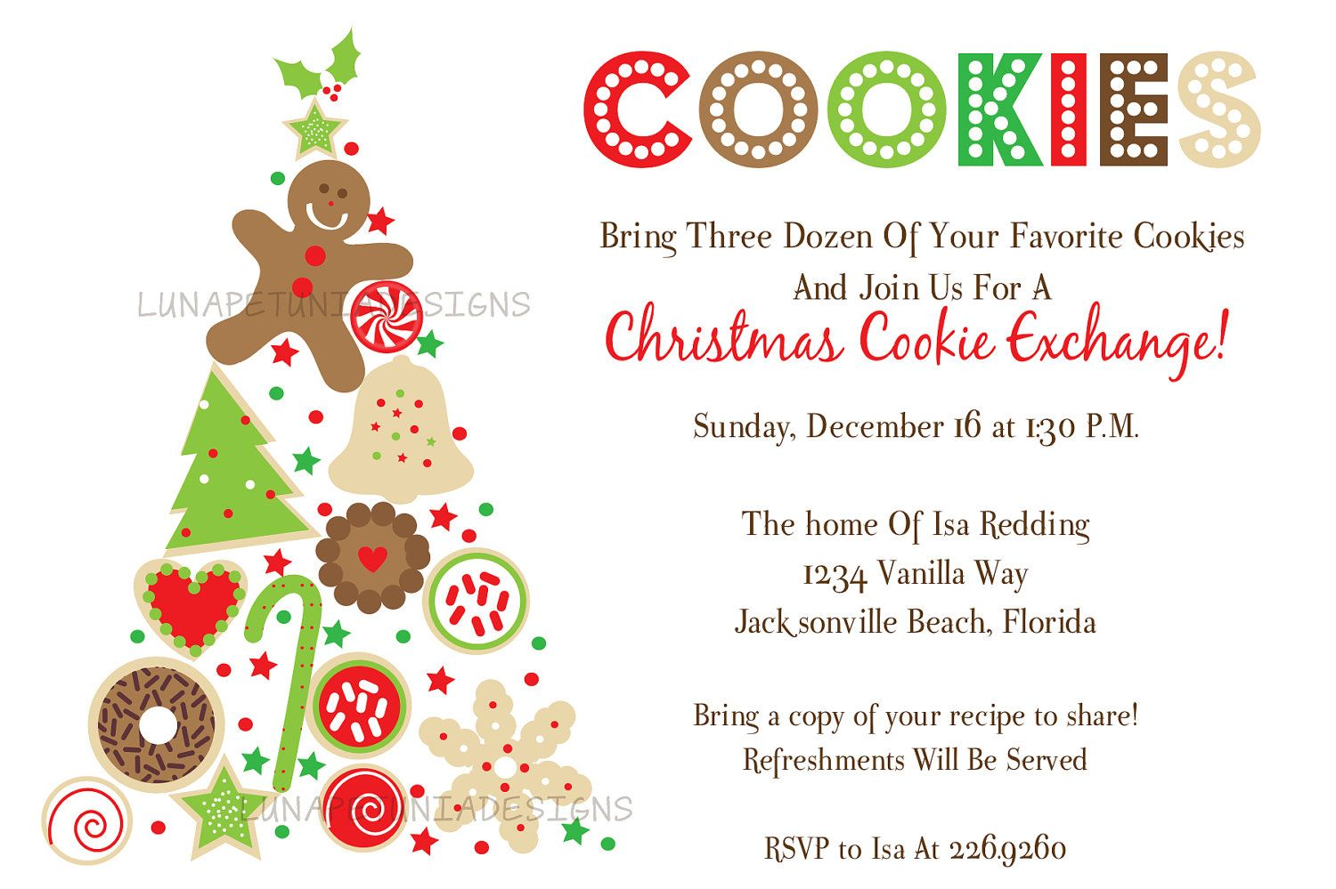 Christmas Cookie Tree Exchange Swap . Holiday Invitation...ideas ...