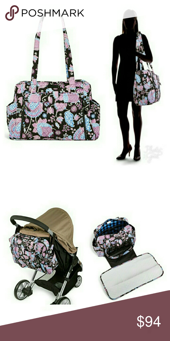 9914ed40557 VERA BRADLEY Stroll Around Baby Bag Alpine Floral Removable stroller straps  to attach bag to stroller