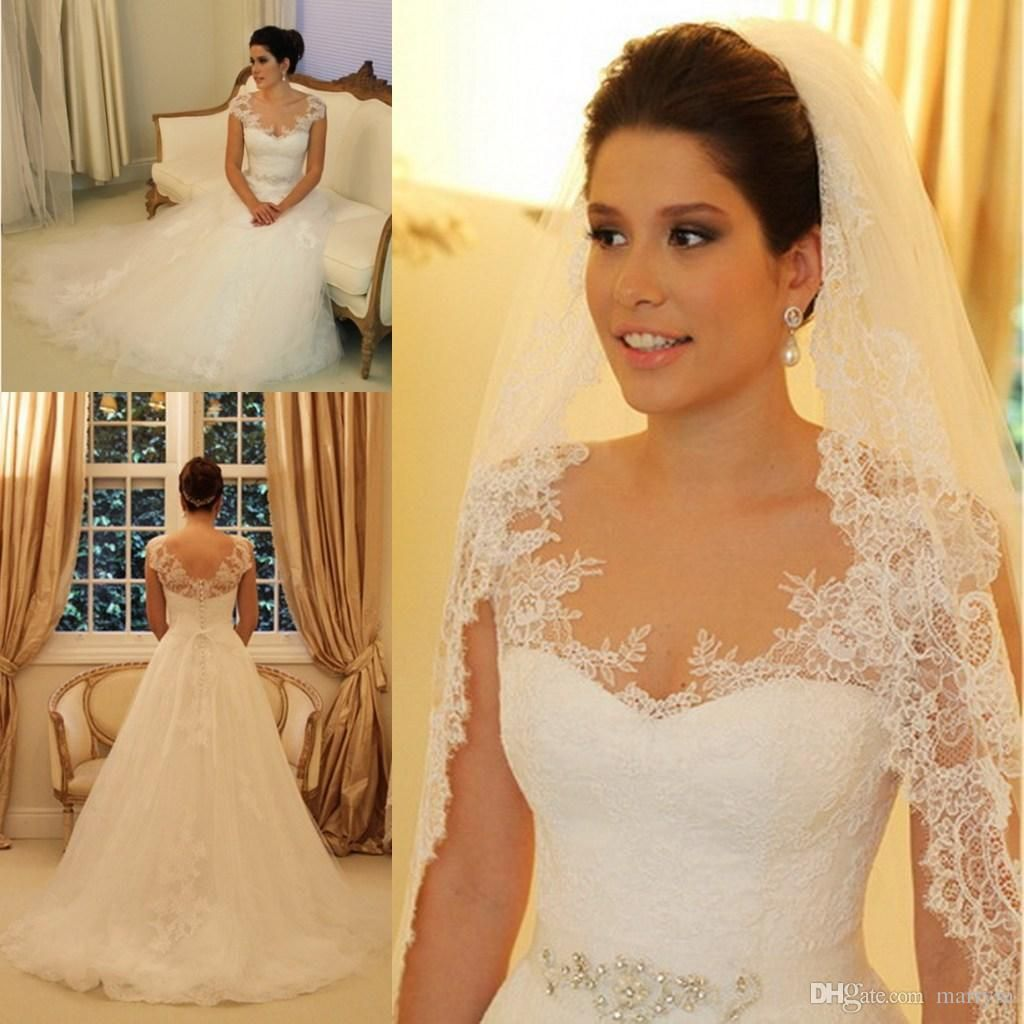 Elegant Lace Sweetheart Neckline Long Wedding Dresses Beaded Tulle ...