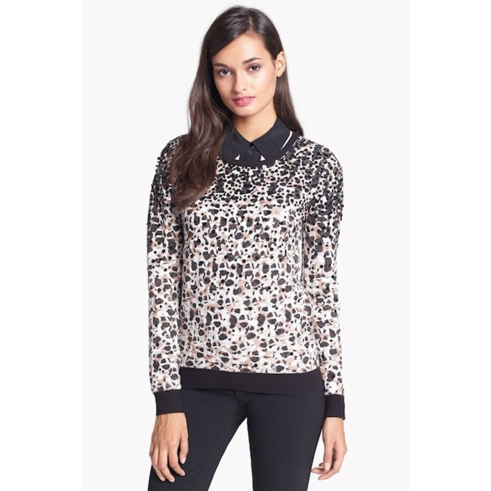 60cef3b4ce Women Marc by Marc Jacobs Leopard Print Sequin Embellished Sweater Small   MarcbyMarcJacobs  PulloverSweater