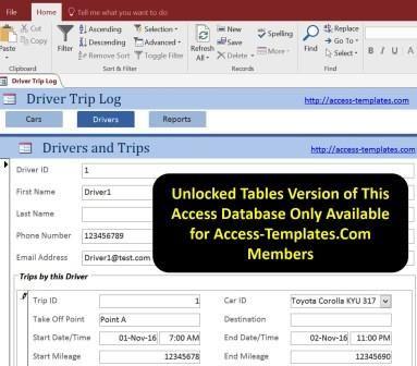 access database driver trip car mileage log tracker templates