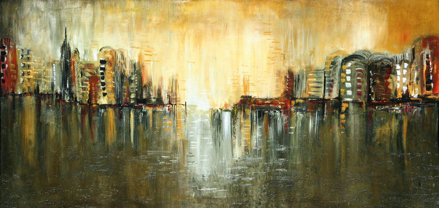 Abstract cityscape painting modern art textured by LaurenMarems ...