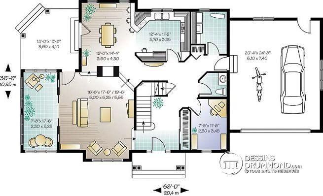 Plan de maison unifamiliale bainbridge no 6816 plans perspectives esquisses - Style de maison americaine ...