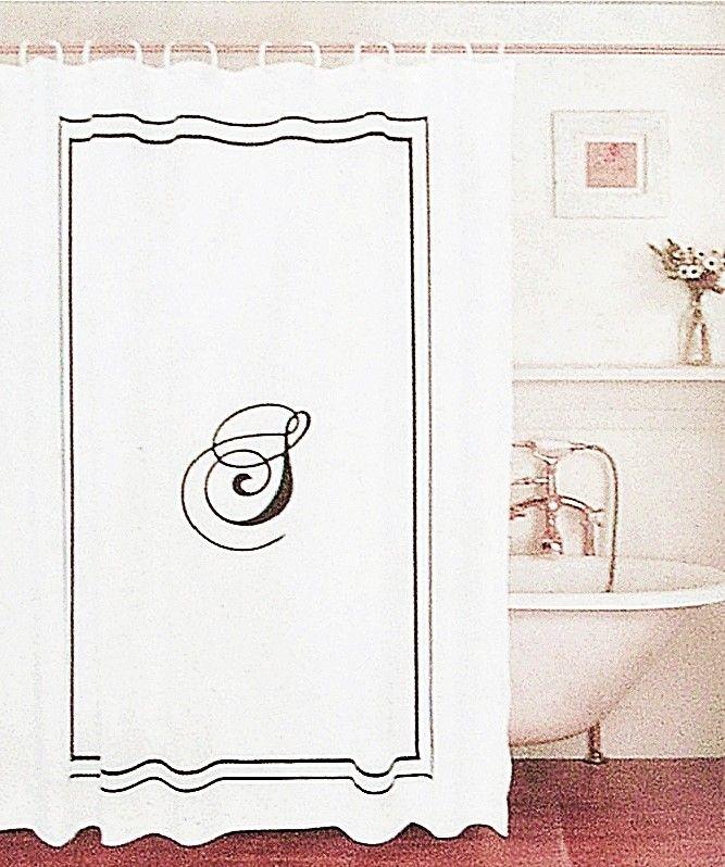 Shower Curtain Black Monogram Letter S White Fabric Black Border In