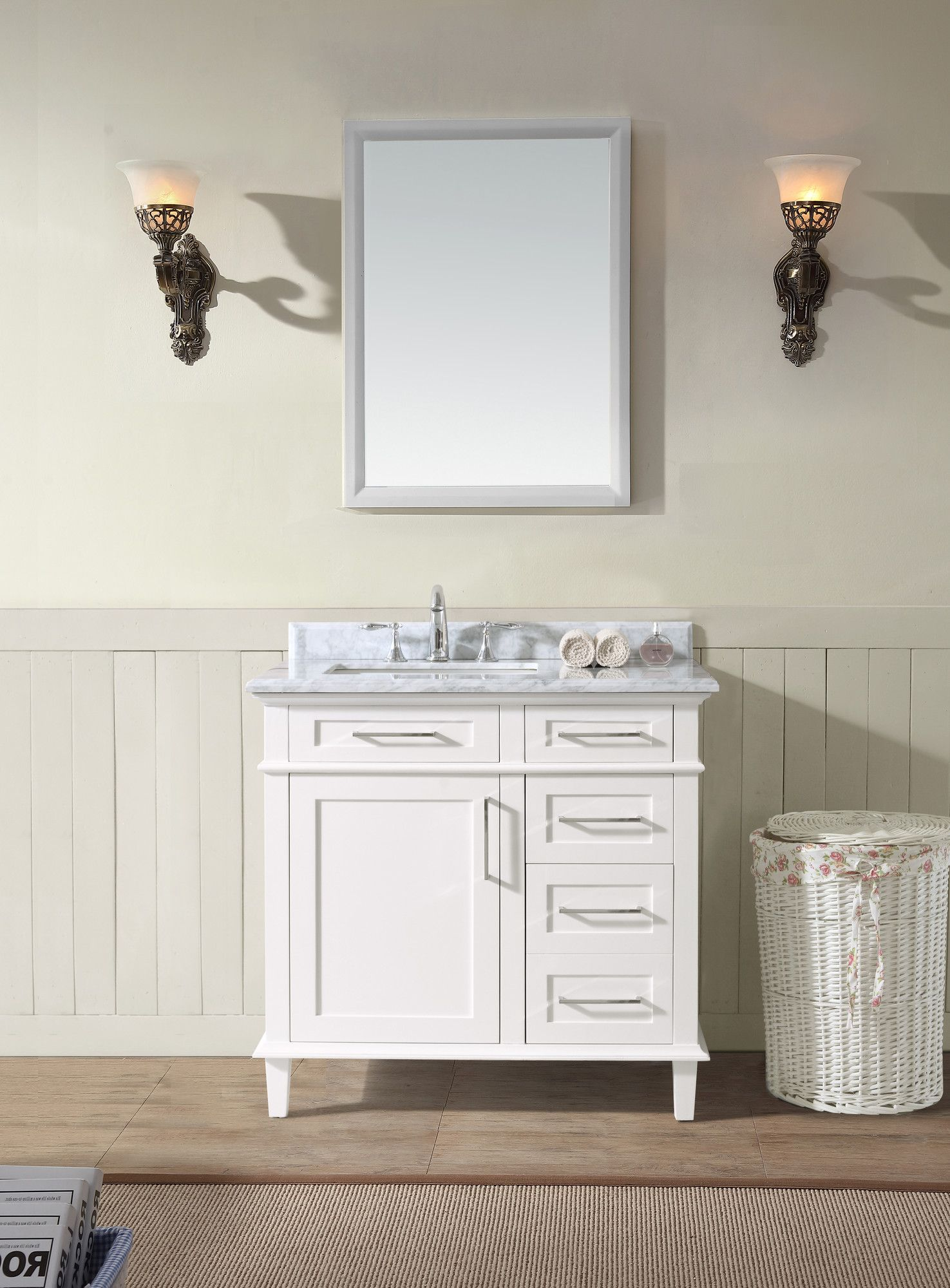 "Ari Kitchen & Bath Newport 36"" Single Bathroom Vanity Set Prepossessing Bathroom Cabinet Reviews Decorating Inspiration"
