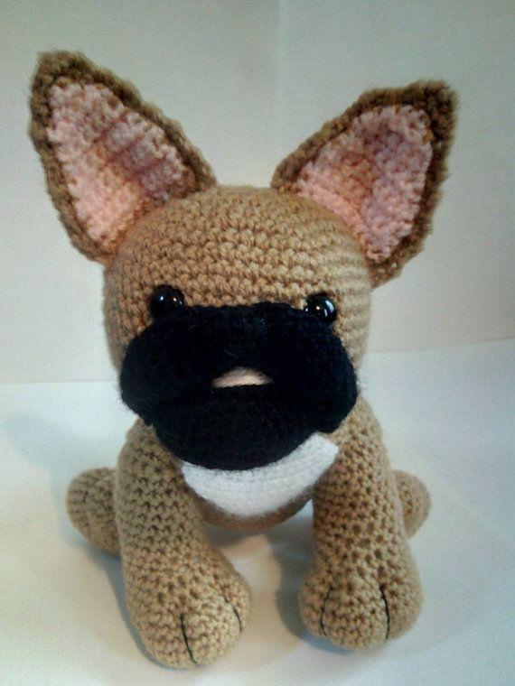 Crochet French Bulldog by CarrotTopsCharacters on Etsy | Amigurumi ...