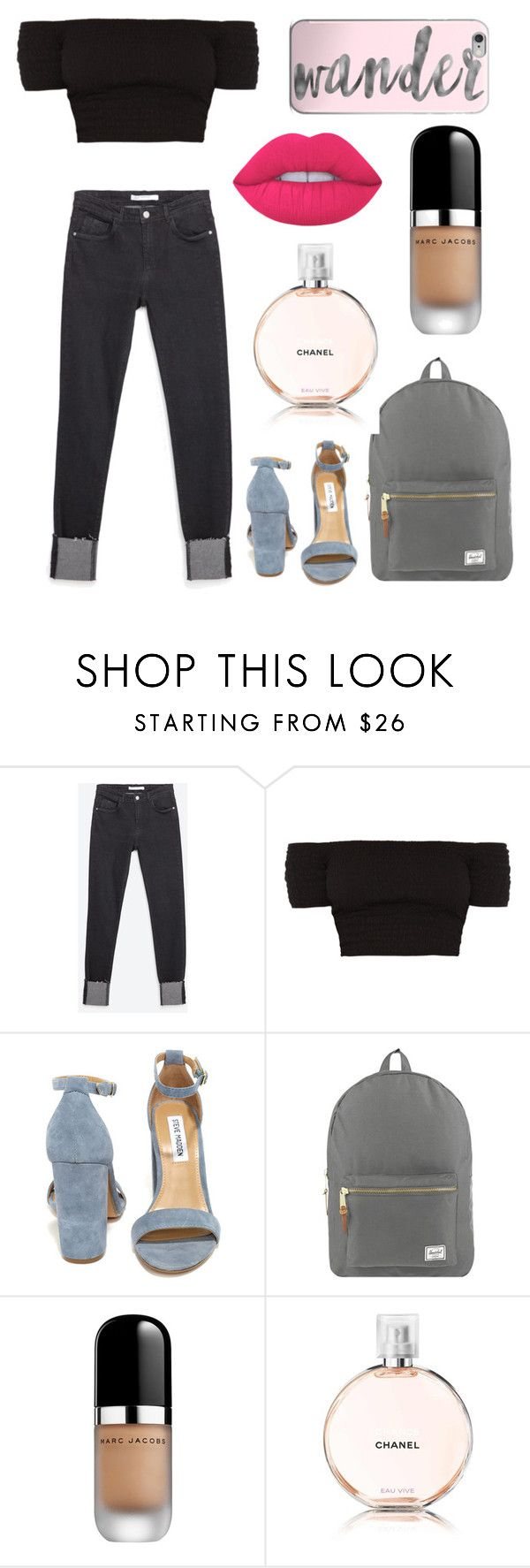 """Untitled #92"" by rainthunderari ❤ liked on Polyvore featuring Zara, Steve Madden, Herschel Supply Co., Marc Jacobs, Chanel and Lime Crime"