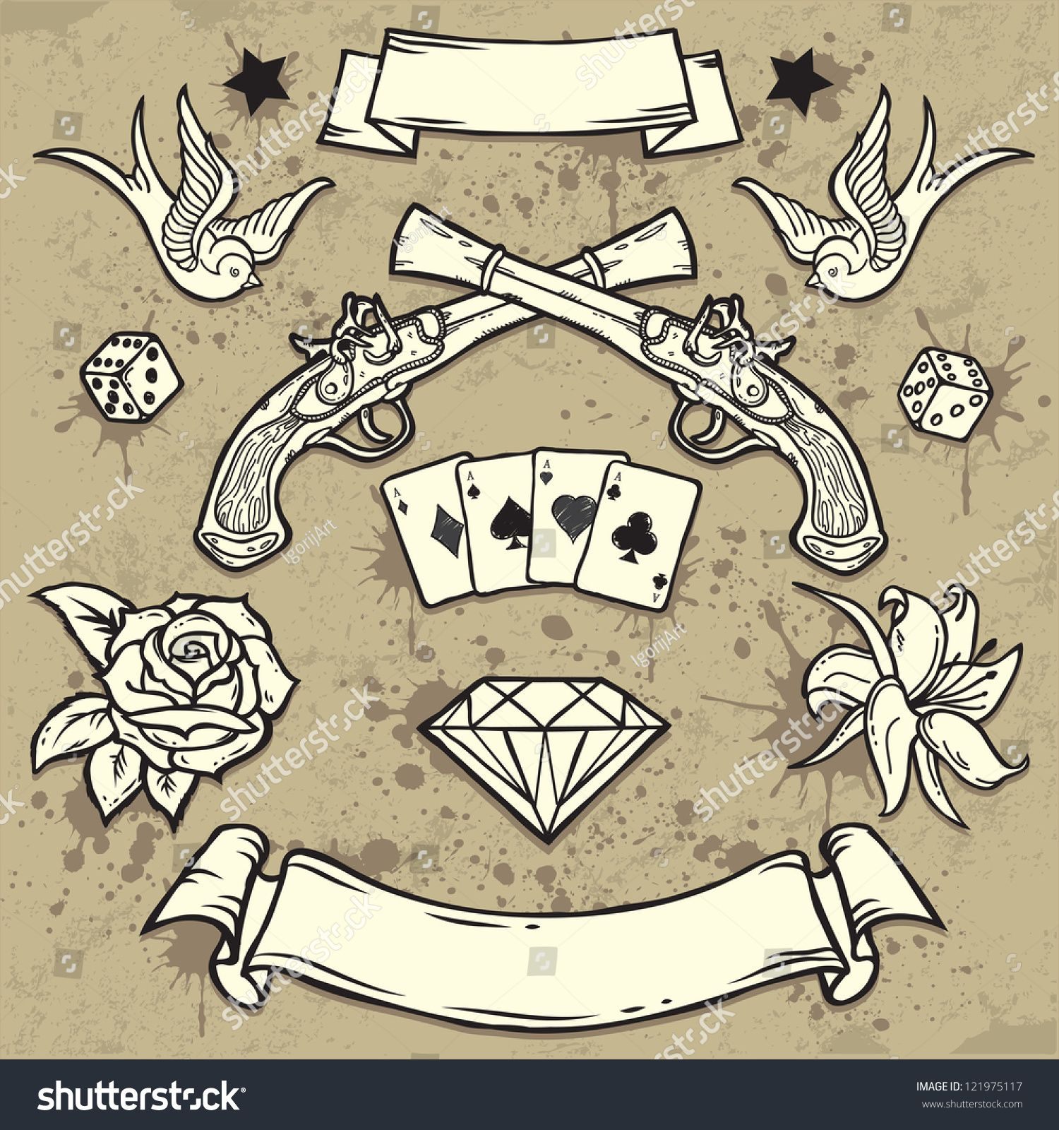 Set of Old School Tattoo Elements.Tattooart design. New