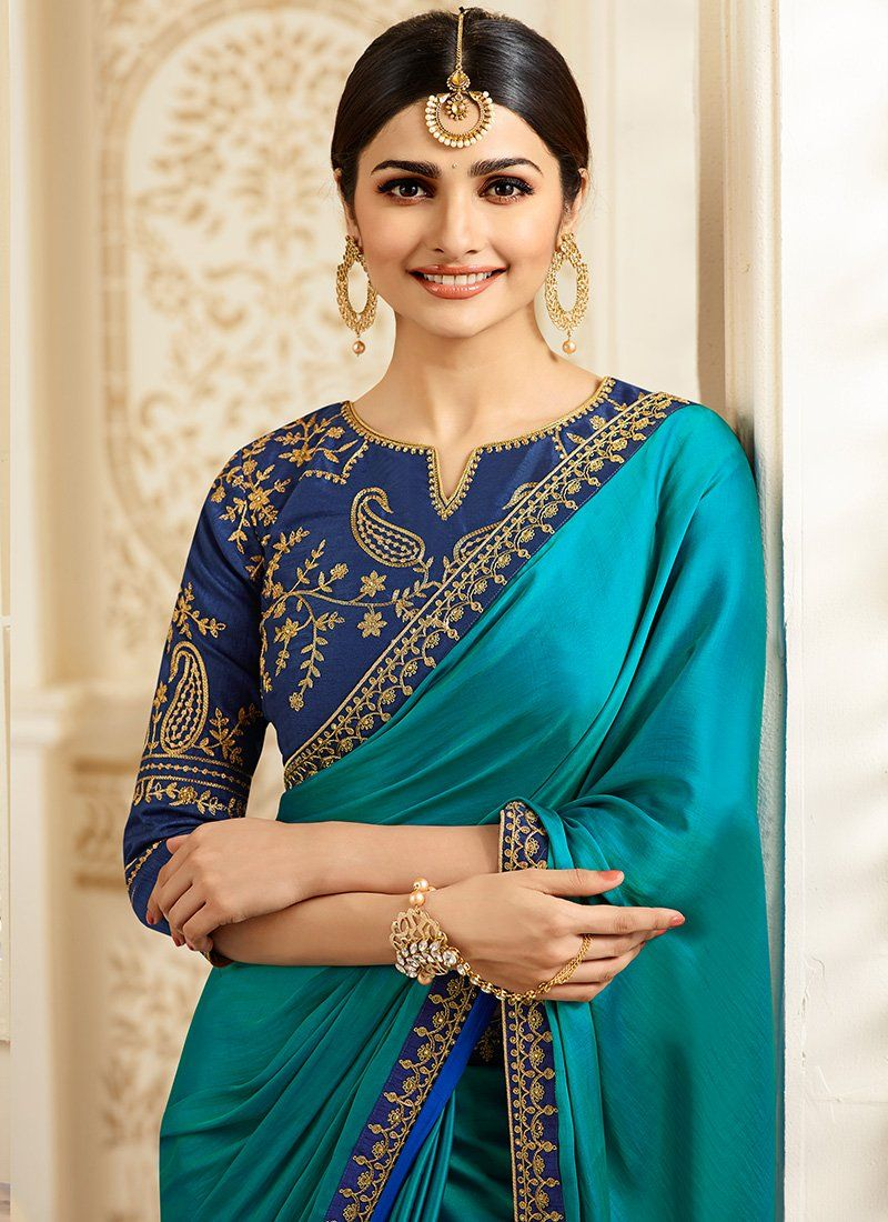 Blue embroidered art silk saree stone work silk sarees and saree