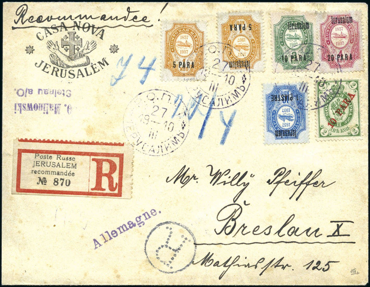 "India 1929 May 20 Printed envelope to Darjeeling flown on the first flight from Calcutta to Siliguri with violet ""BENGAL AIR TRANSPORT CO LTD""…"