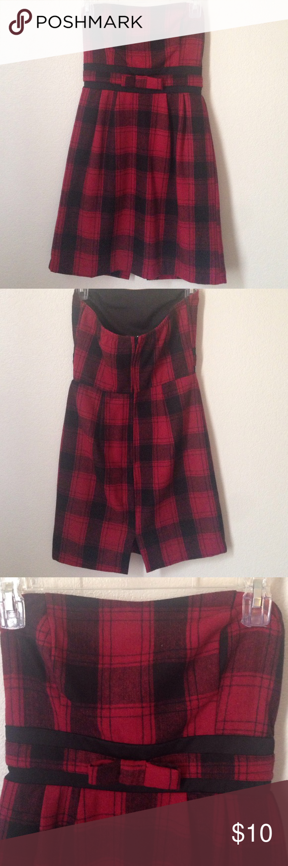 Red flannel around waist  Strapless black and red flannel dress This dress is made of a thick