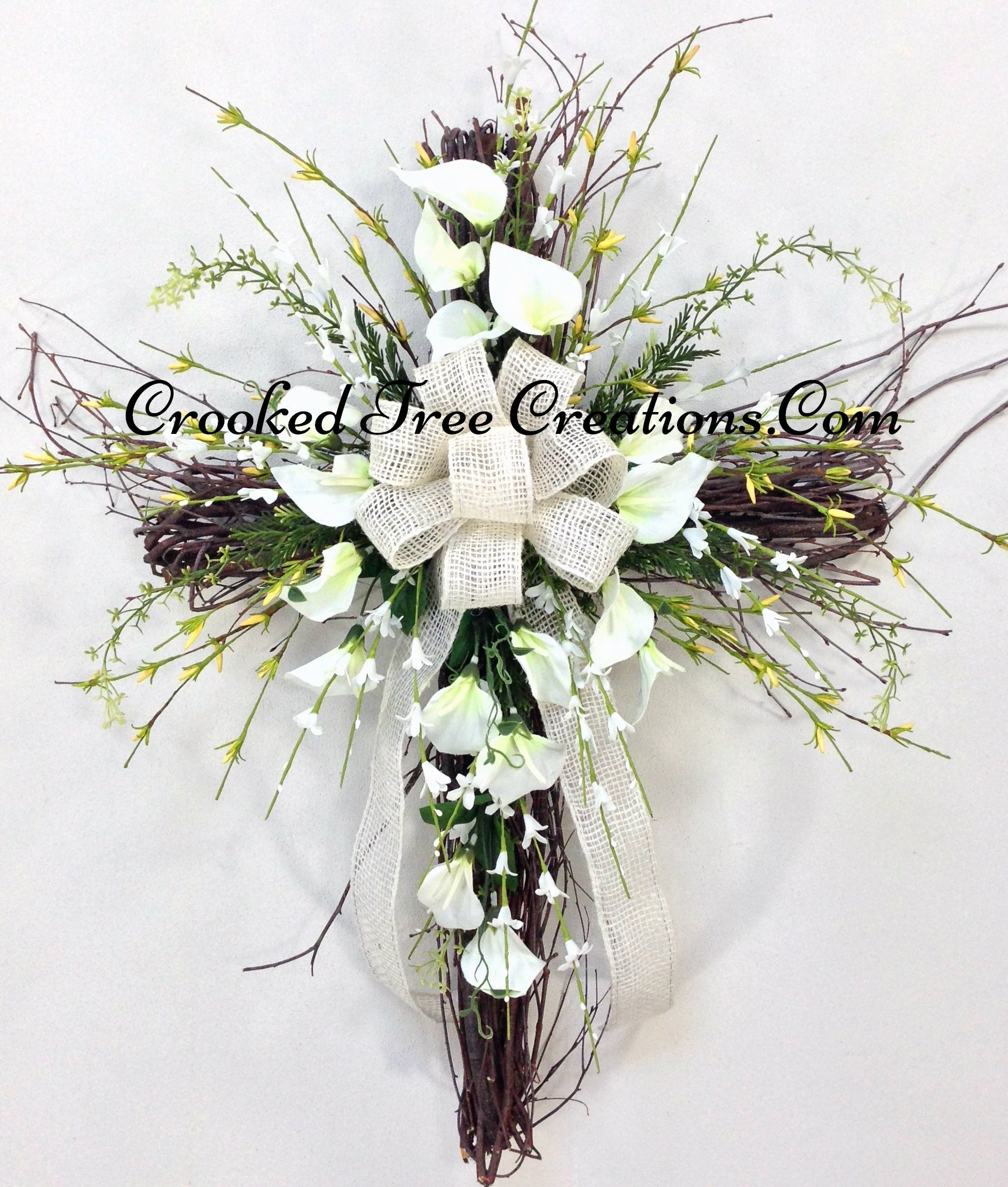 Grapevine Cross With Calla Lillies Cemetery Decorations