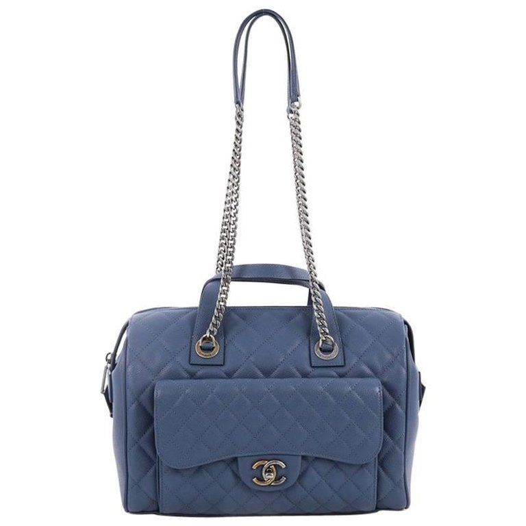 a60c25ef9df205 Chanel Two-Tone Front Pocket Bowling Bag Quilted Caviar Medium | 1stdibs.com