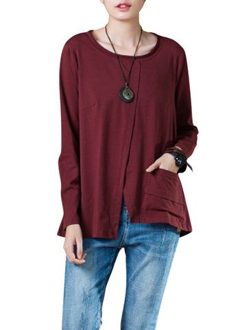 5aa680809b O-Newe Plus Size Solid Long Sleeve Split Asymmetric Tops For Women -  Newchic Mobile.