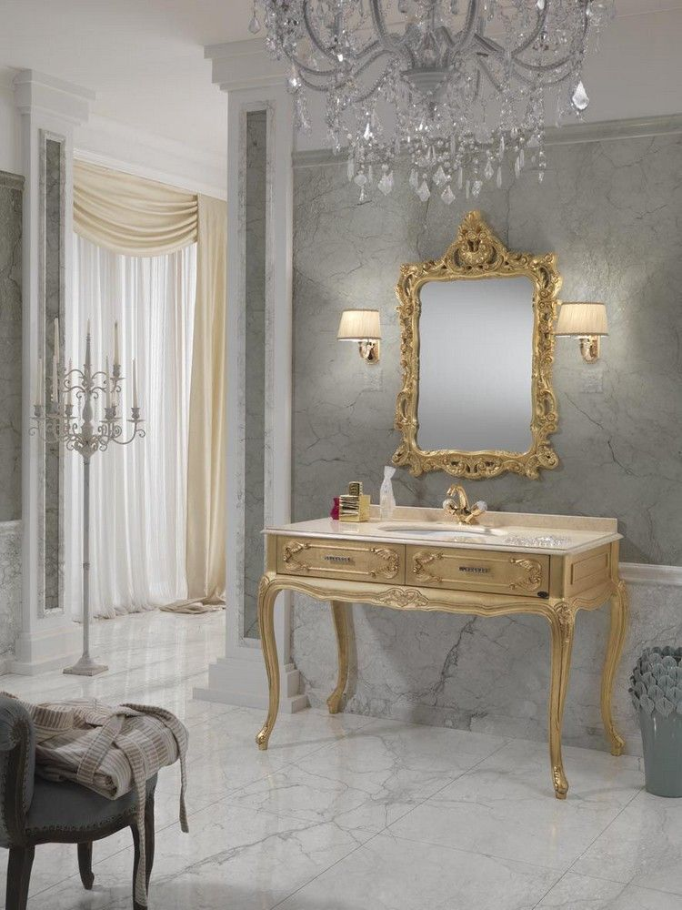 salle de bain baroque console en bois dor et miroir assorti salle de bain pinterest. Black Bedroom Furniture Sets. Home Design Ideas