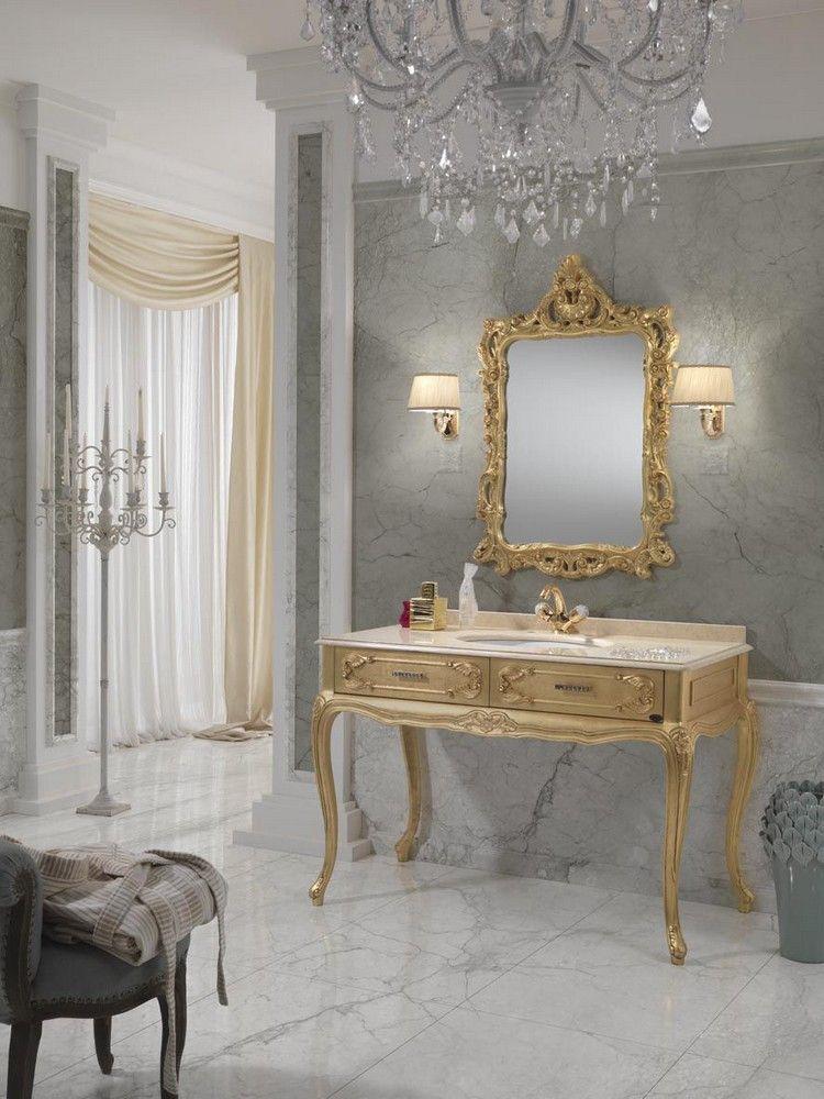 salle de bain baroque console en bois dor et miroir. Black Bedroom Furniture Sets. Home Design Ideas