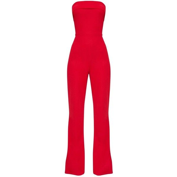 656971b7559 Red Bandeau Fold Detail Jumpsuit ( 28) ❤ liked on Polyvore featuring  jumpsuits