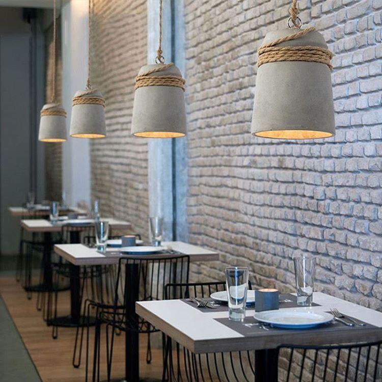 Concrete cord wrapped monolith minimalist pendant light in rope concrete cord wrapped monolith minimalist pendant light in rope restaurant bar coffee shop design ideas mozeypictures Gallery