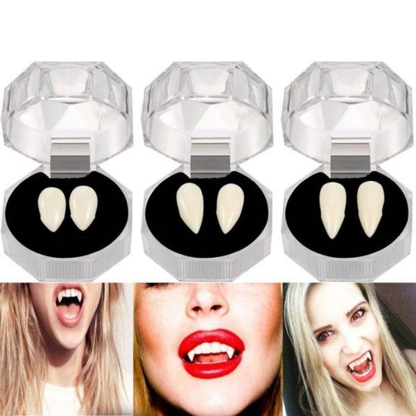 2x Dentures Ghost Devil Fangs Zombie Vampire Teeth Halloween Cosplay Party Props