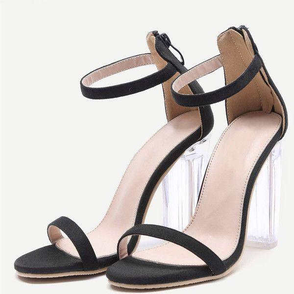 919e63465737 SheIn(sheinside) Black Ankle Strap Transparent Chunky Heels ( 36) ❤ liked on