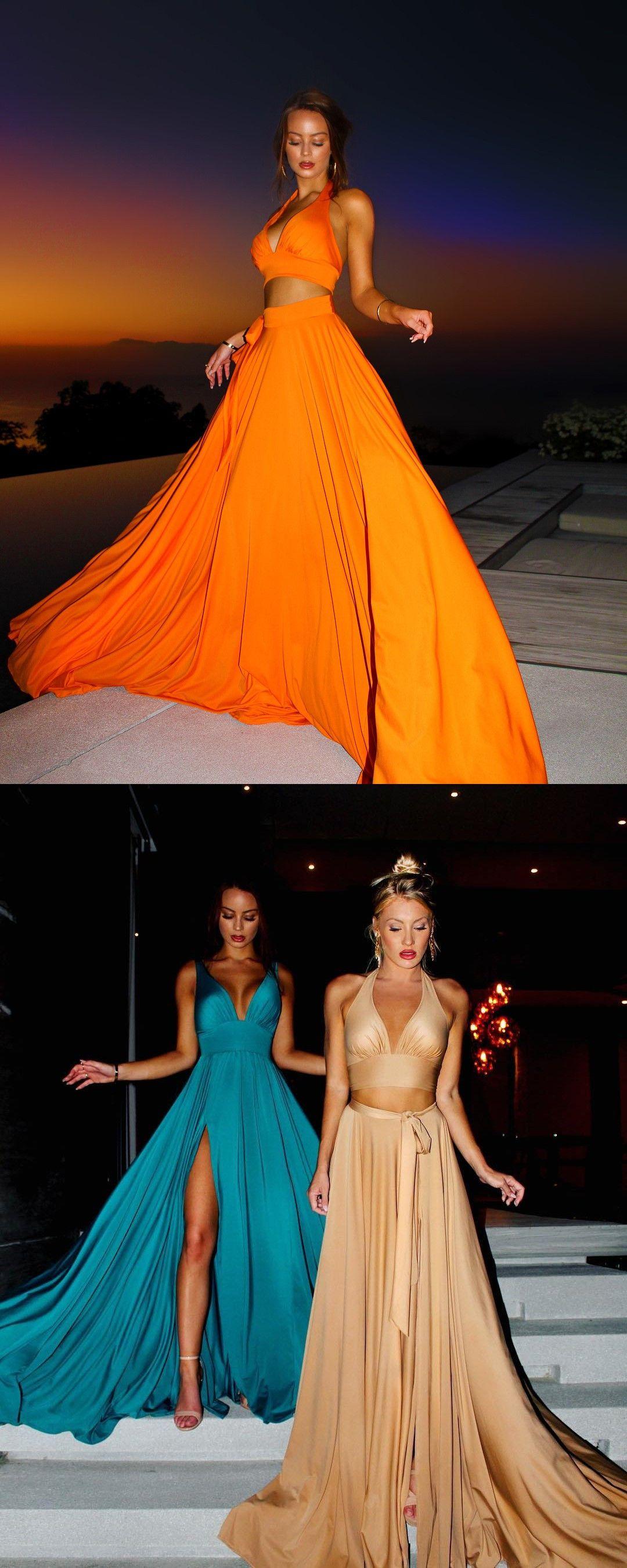 Two piece vneck yellow satin prom party dress with split fashion
