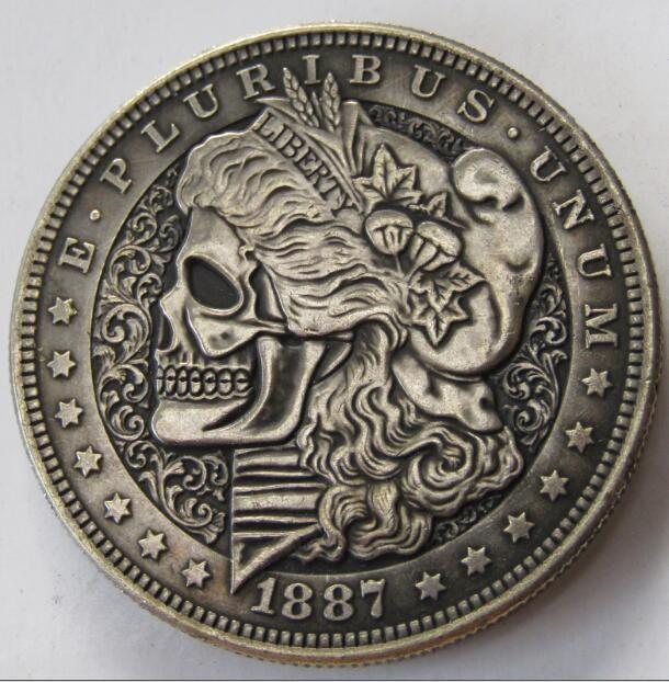 Money Stamp Dollar HOBO USA Morgan Nickel Skull Skeleton Silver Zombie  Gift Coi