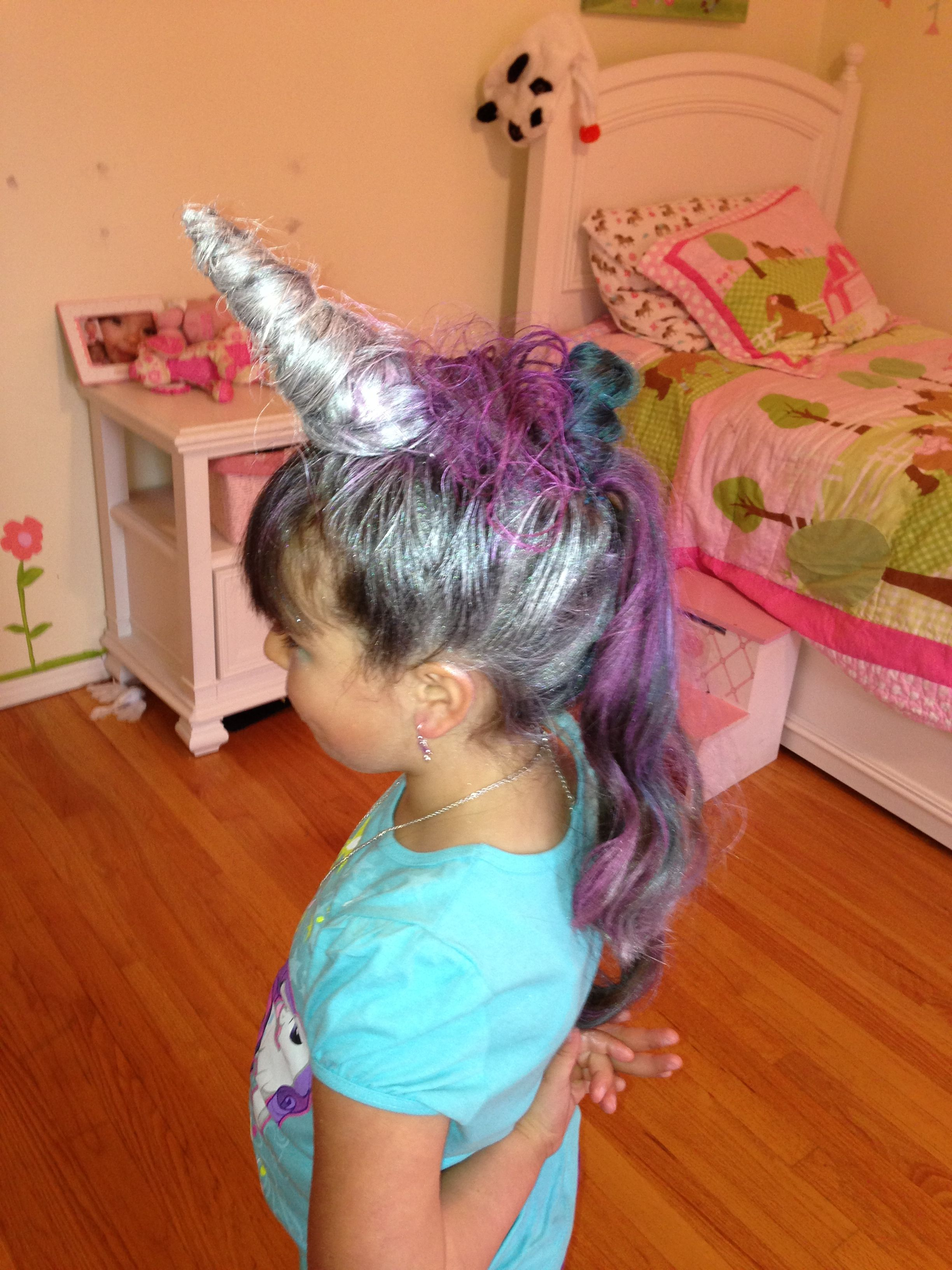 unicorn hairstyle made for my daughters first crazy hair day