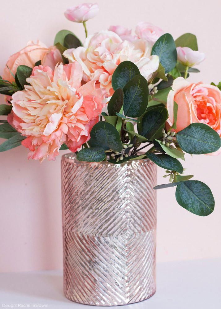 Romance Mercury Glass Floral Vase In Blush 75 Mercury Glass