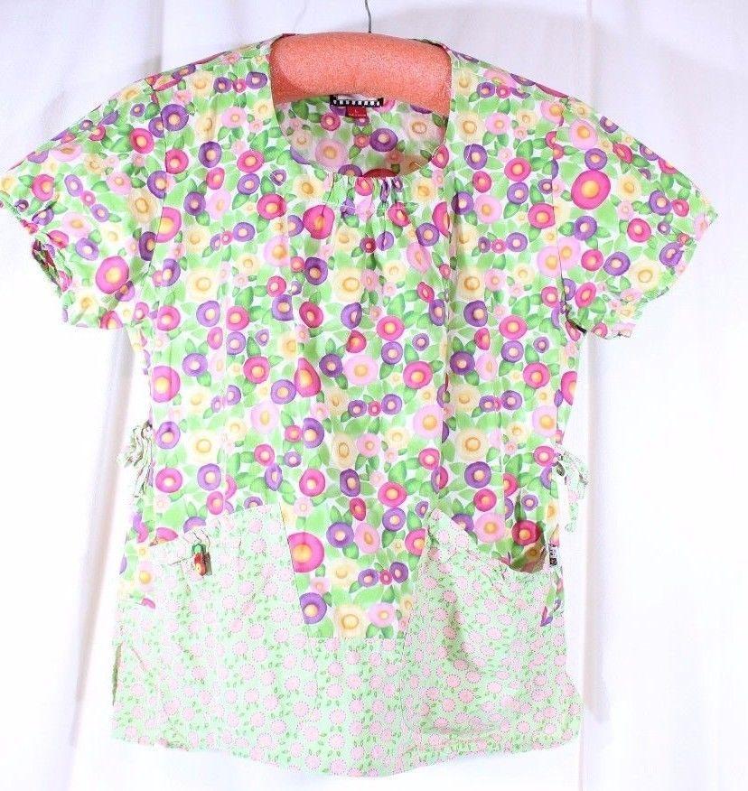c8a218b764f Mary Engelbreit Size L See Measurement Scrub Top Green Floral  #MaryEngelbreit