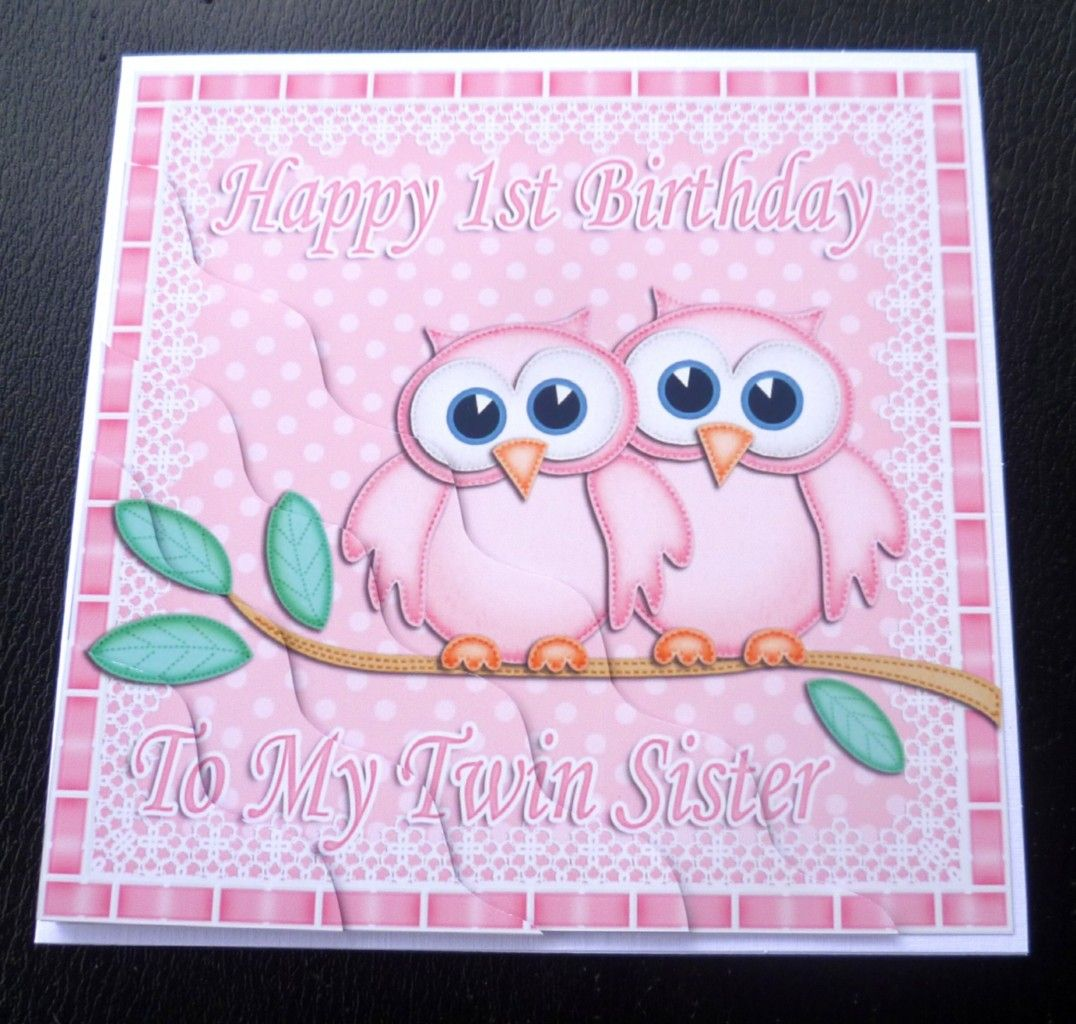 Happy birthday twin sister owls card pink amp blue wishes for happy birthday twin sister owls card pink amp blue wishes for kristyandbryce Gallery