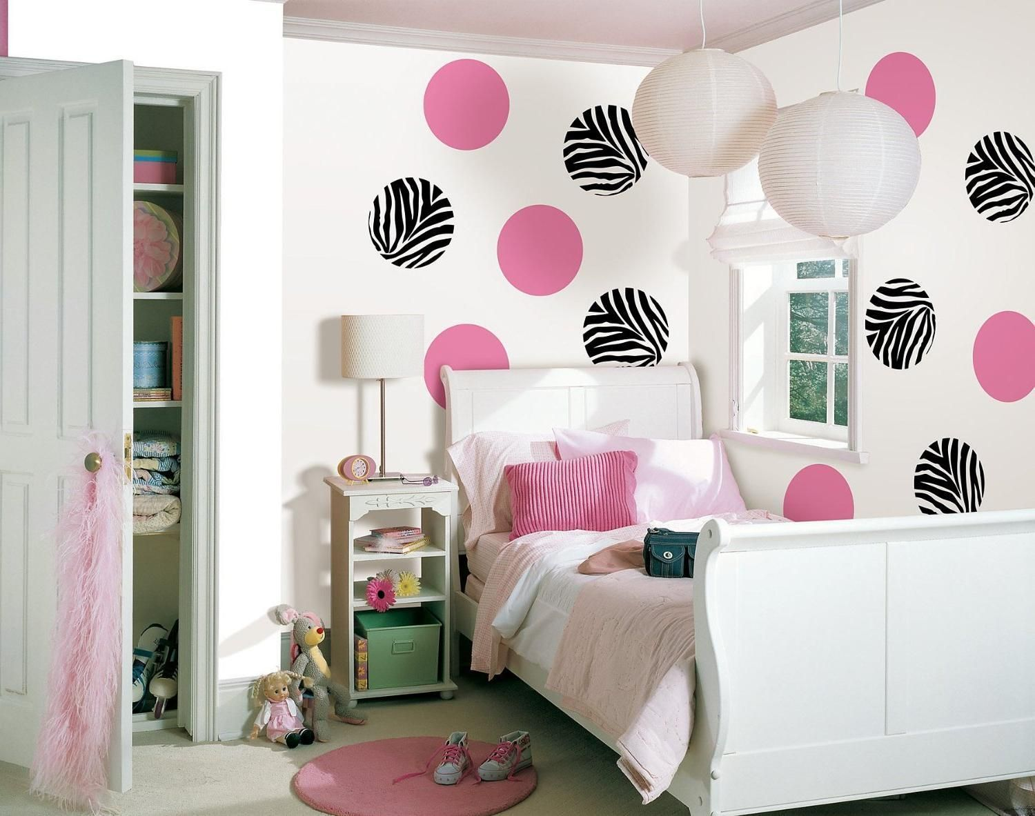 Amusing Teenage Girl Bedroom Design With Black Pink Circle Pattern  Wallpaper And Lampion Above Bed Also White Wooden Headboard Also Lamp Desk  Beside Door ...