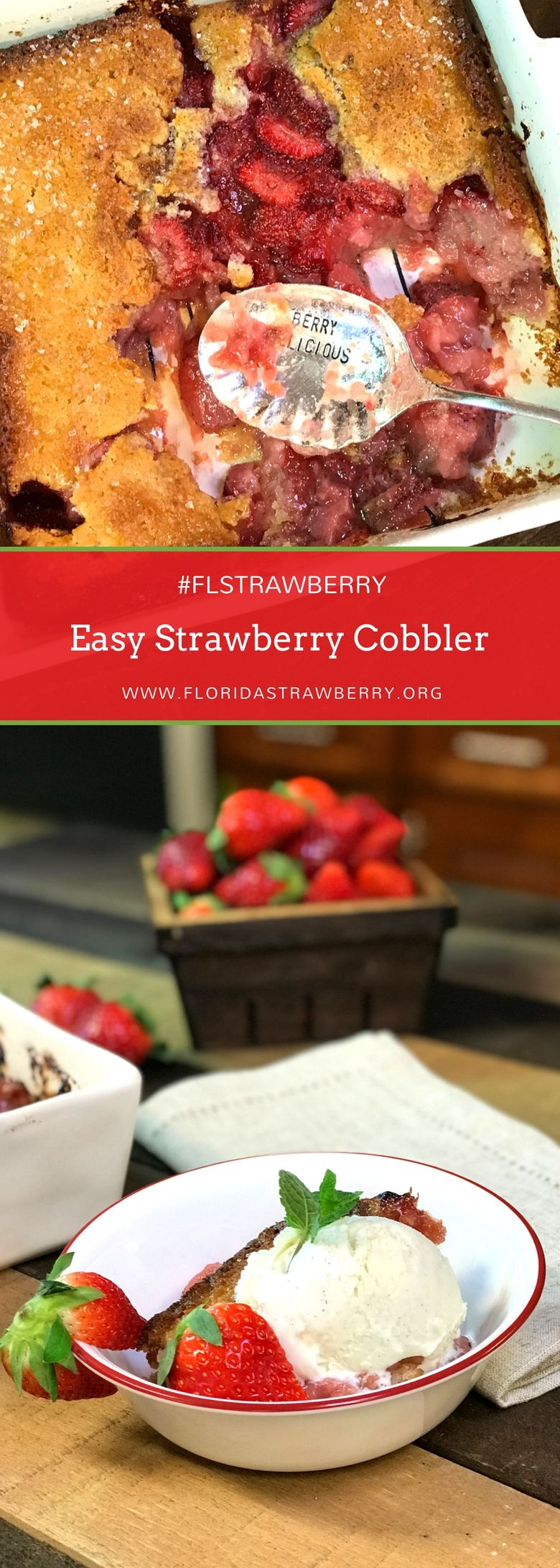 We decided to be a little rebellious with our easy strawberry cobbler recipe. Instead of cooking the dough over the fresh fruit, we cook it at the bottom of the pan! This allows the butter at the bottom of the pan to bubble up through the dough, helping it rise to mix deliciously with the sweet Florida strawberries. #FLStrawberry #strawberries #strawberryseason #dessertrecipes #dessert #cobbler