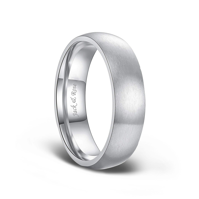 Dome Brushed Titanium Rings for Men 6mm 8mm Titanium