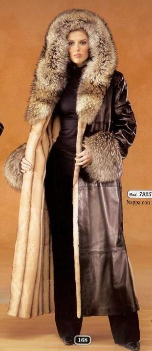 Long Fur Trimmed Leather Coat | Furs & Softwear 5 | Pinterest ...
