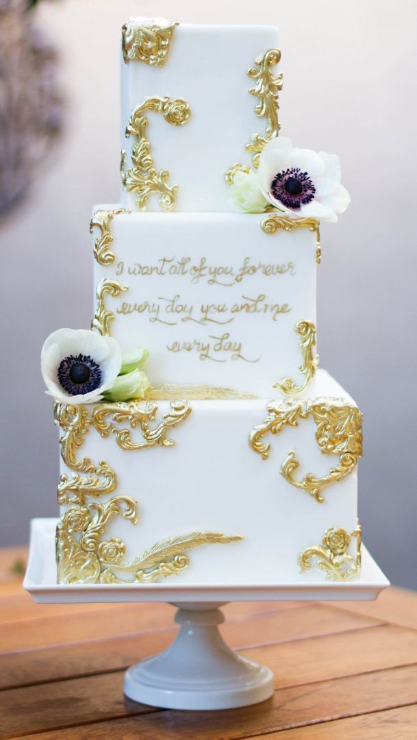 Fondant Gold And White Vintage Themed Wedding Cake By Frost It