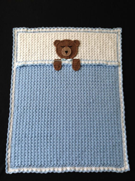 Crochet PATTERN - Teddy Bear Bedtime Blanket; Teddy Bear Baby Afghan Blanket; Bear Blanket Pattern; Woodland Themed Blanket, PDF Download #teddybearpatterns
