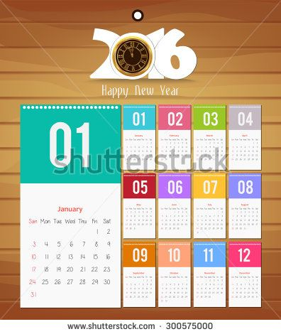 Template design - Calendar 2016 with paper page for months - stock