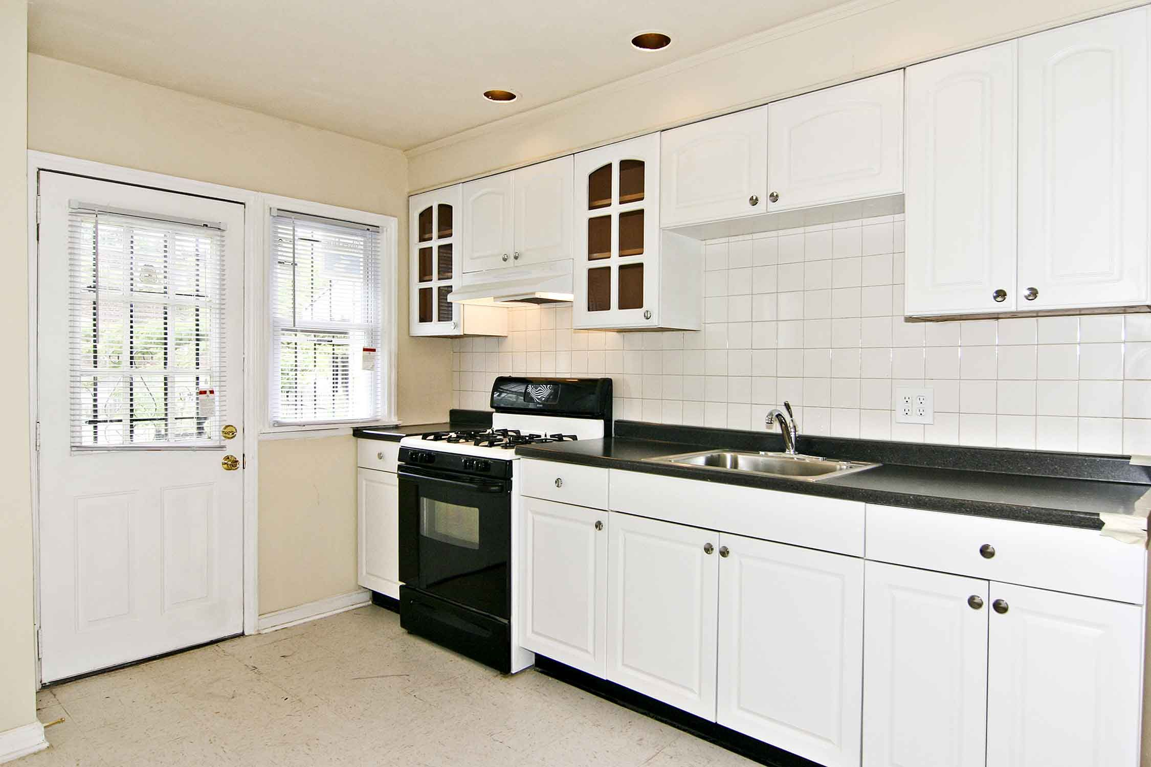 Kitchen Layout With Awesome Minimalist Remodeling Interior White Plywood Cabinets System Combine Black Gl Tile Countertop And
