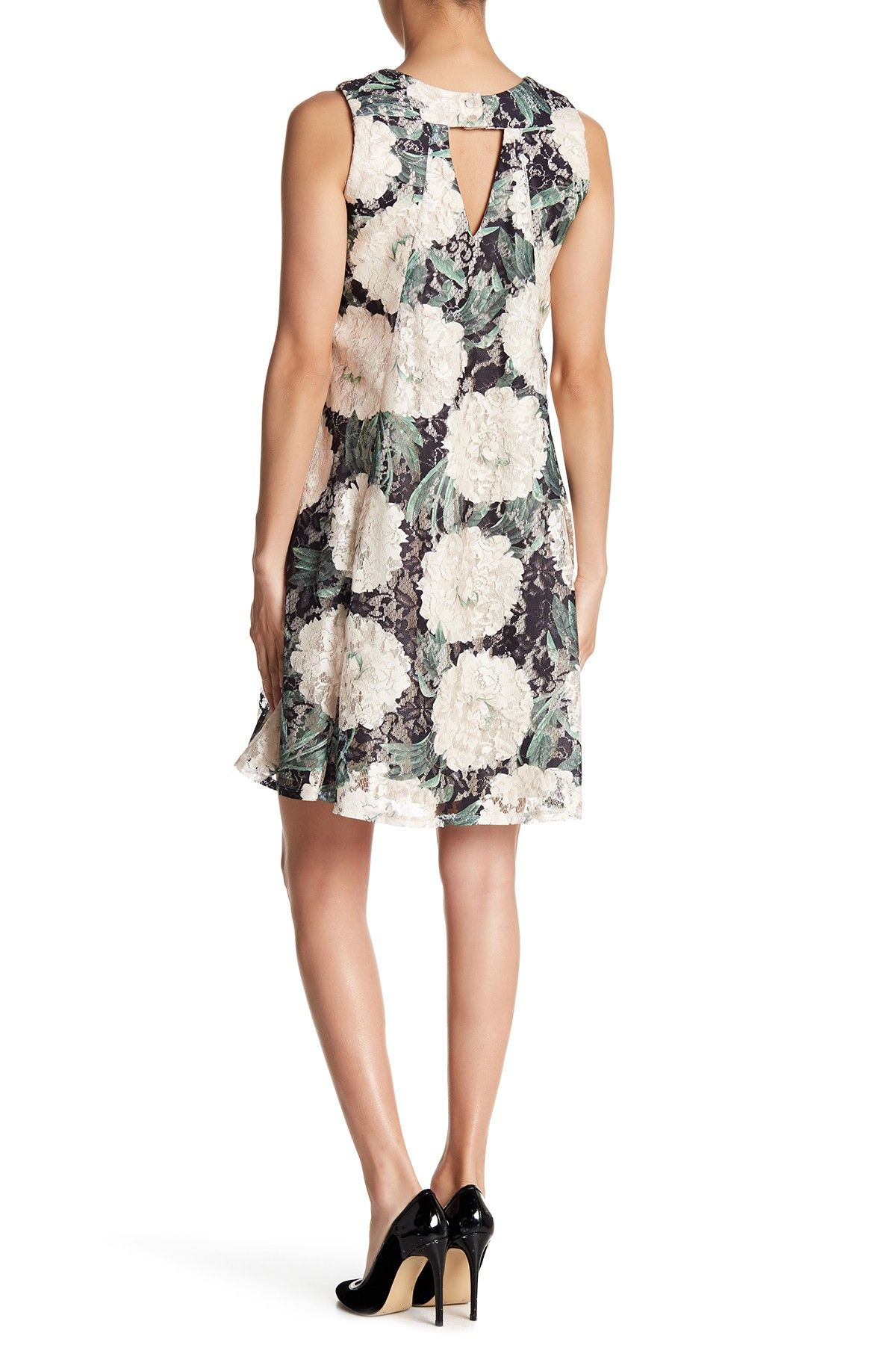 Gabby Skye Floral Printed Lace Trapeze Dress I Like This
