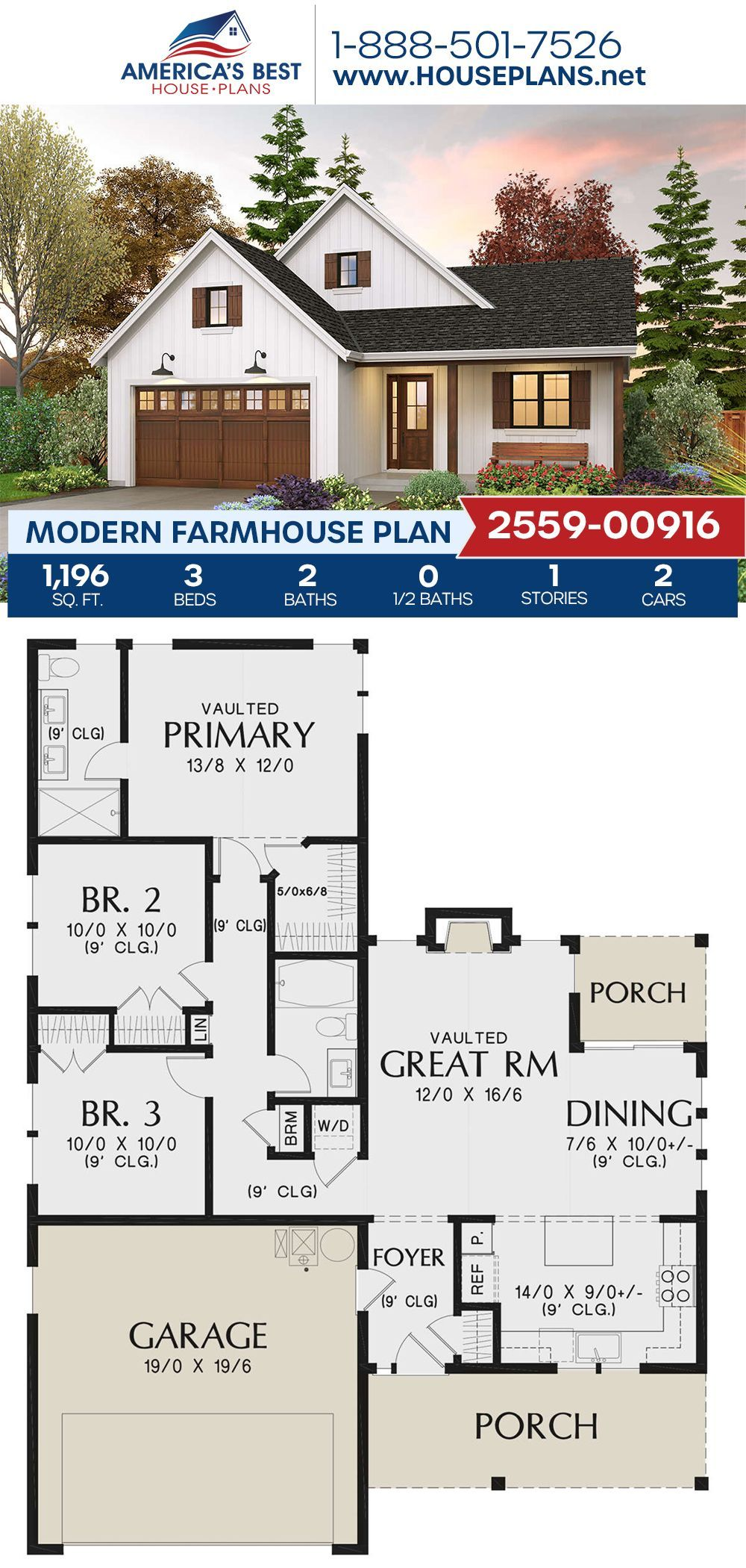 House Plan 2559 00916 Modern Farmhouse Plan 1 196 Square Feet 3 Bedrooms 2 Bathrooms Modern Farmhouse Plans Cottage Floor Plans Farmhouse Plans