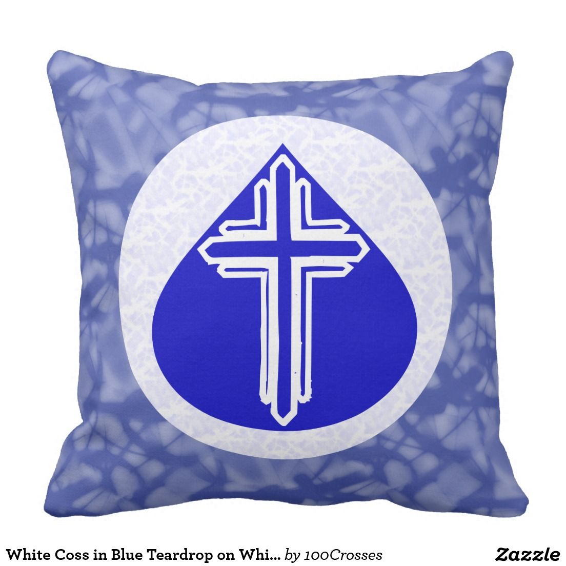 White Coss in Blue Teardrop on White and Blue Outdoor Pillow