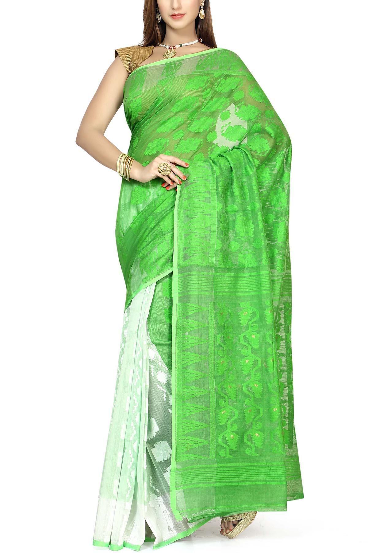 5ea6fa0ff9 Lime Green & White Dhakai Cotton Jamdani Saree   Muslin Myths ...