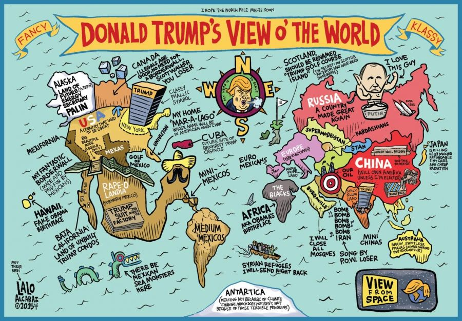 Cartoon Showing Map Of Us According To Trump Randoms Trump