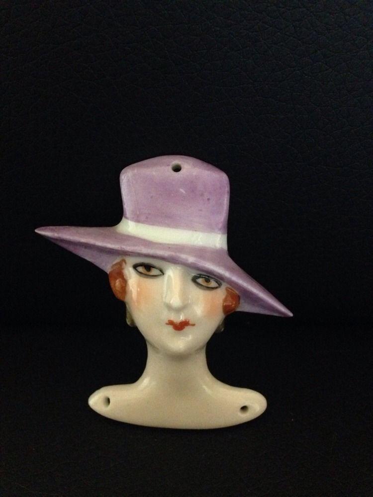 Lady Wearing Purple Hat Pin Cushion Half Doll Flat Head
